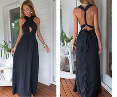 Sexy Prom Dress, Hollow out Prom Gowns, Backless Long Chiffon Evening Dress…