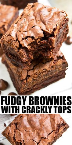 FUDGY BROWNIES WITH CRACKLY TOPS- Learn the tips and tricks for making the best homemade chocolate brownies from scratch with crackly tops. These rich and dense brownies have a shiny crispy top that's worth the effort! From CakeWhiz.com #chocolate #brownies #dessert