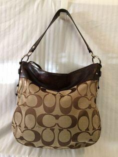 8e7178920c COACH 14709 Purse Signature Zoe Hobo Shoulderbag Handbag Brown Khaki  Distressed  Coach  Hobo