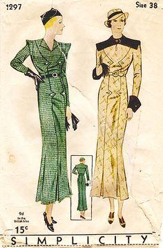 1930s vintage fashion art deco long day dress green plaid checks yellow black button front belt please color illustration print ad hats shoes pattern Simplicity 1297 | 1930s Misses' Dress