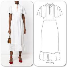 Dress Design Drawing, Dress Drawing, Fashion Design Drawings, Fashion Sketches, Fashion Illustration Dresses, Dress Sketches, Dress Sewing Patterns, Fashion Sewing, Pattern Fashion