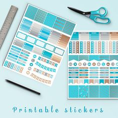 Silver And Tropical Blue Planner Stickers -    http://etsy.me/2blK8mK Silver and tropical blue planner stickers pack is perfect for create handmade planners, stationery, greeting cards, craft items and much more. Fits perfectly for your erin condren vertical life planner and other types of planners like: kikki k, mambi planner, plum planner etc. You may print as many sheets as you would like.