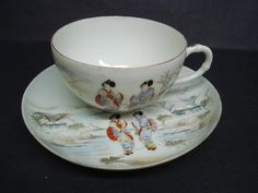 Antique Cup and Saucer  Teacup Set  Fine China  by lasadana