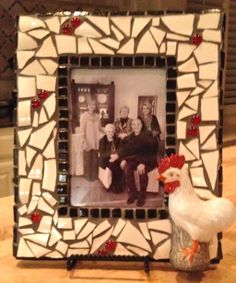 My newest Mosaic - Black and white picture frame with red accents and rooster!