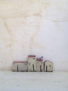 set of 4 ceramic houses painted with acrylic by VesnaGusmanClayArt,