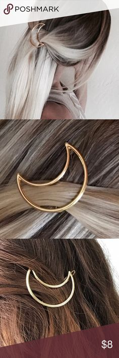 HUGE SALE! 4 LEFT! Gold tone moon hair clip This is my favorite item in the word, I actually wear this everyday! This is the most darling hair accessory I've ever seen and I am so excited to share it with you. It has a tight grip and will not fall off your head like most hair clips, and it's so freaking cute with it's moon outline! Perfect to wear on the side of your head, in the back like I've modeled it for a bohemian look, or attached to the end of a braid. The possibilities are endless…