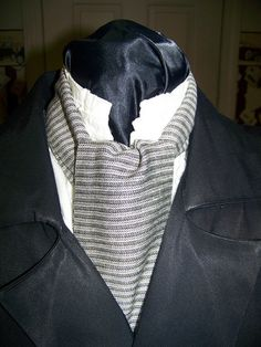 Ascot or Carvat Black and White Stripe 4 x 60 Mens by civilwarlady, $14.95