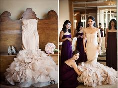 Vera Wang Wedding- Blush wedding gown and plum BM dresses