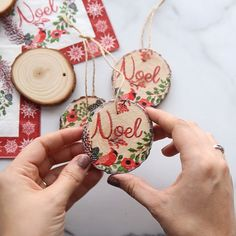 Napkin Ornaments Diy Napkin Ornament Wood Slice Ornament Napkin Decoupage Happy New Year Easy Christmas Ornaments, Christmas Crafts To Make, Christmas Wood, Simple Christmas, Holiday Crafts, Christmas Decorations, Diy Ornaments, Dough Ornaments, Easy To Make Christmas Ornaments