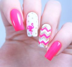 Hot pink summer vacation manicure using our Flamingo Nail Decals and Chevron Nail Vinyls both found at snailvinyls.com
