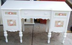 Pastel Floral Cottage White Vintage Desk or by Daniscustomdesigns