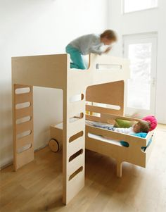 A collection of images of the RaFa kids beds and bunks. A must have for any modern kids bedroom Full Size Bunk Beds, Adult Bunk Beds, Double Bunk Beds, Modern Bunk Beds, Cool Bunk Beds, Kids Bunk Beds, Kids Furniture, Furniture Design, Plywood Furniture