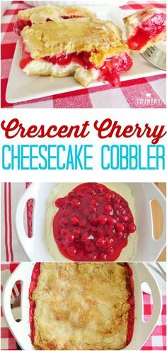 Crescent Cherry Cheesecake Cobbler recipe from The Country Cook