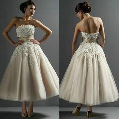 Handmade Flowers Strapless Tea Length Champange Short Wedding Dress 2014 Free Shipping $139.99