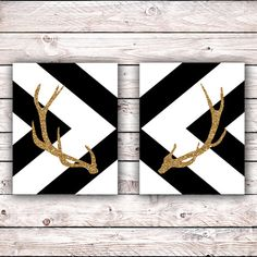 Set of two Gold Glitter Deer Antler Silhouette Printable Art Print Chevron Pattern Minimalist Instan Inexpensive Home Decor, Cheap Home Decor, Diy Home Decor, Shabby, Gold Bedroom, Black White Gold, Deer Antlers, Diy Canvas, My New Room