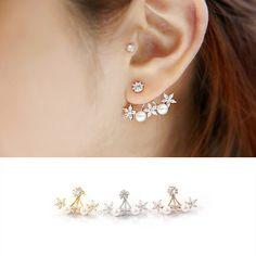 925 Silver Needle Pearl Flower Cubic Zircon Crystal Ear Stud Earrings