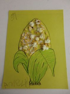 Fine Motor Skill/Math-Counting  Have the student cover the corn cob with kernels. Have them glue popcorn to teach the concept of what happens when the kernel pop.   Lastly, have the student count and tell you how many kernels the corn has.