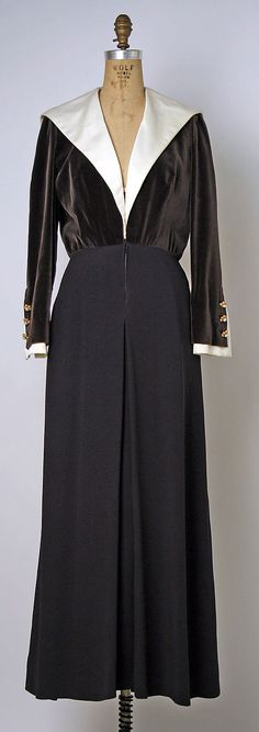 """Dress, Evening  House of Chanel  (French, founded 1913)    Designer:      Gabrielle """"Coco"""" Chanel (French, Saumur 1883–1971 Paris)  Date:      1960s  Culture:      French  Medium:      silk  Dimensions:      Length at CB: 59 1/2 in. (151.1 cm)  Credit Line:      Gift of Dr. Barbara Fleming Luehning, 1984  Accession Number:      1984.596"""