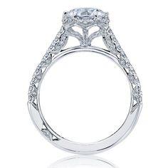 18k White Gold Tacori Petite Crescent Halo Style Diamond Engagement Ring