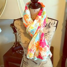 Bright-Neon Color Lightweight Scarf JUST LIKE NEW! Lightweight Scarf with Flowered Design in Neon Hues | Sea Foam Green/Light Blue Lace Trim Along Entire Border | Worn Once • Delicate Wash & Hung to Dry | No Damages ⚜ Purchased at a Boutique in Nüremberg, Germany Boutique Accessories Scarves & Wraps