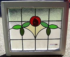 28x25 Old Vtg Art Deco Leaded 7 Colors Stained Glass Window Rose Antique Frame   eBay