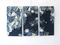 great upcycled idea--paint with jeans or some form of recycled fabric or plastic packaging....denim wall art. love it