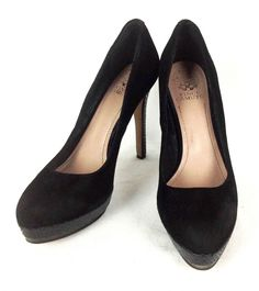 Vince Camuto Shoes Womens Black Leather Suede Heels 9  #VinceCamuto #PlatformsWedges #WeartoWork