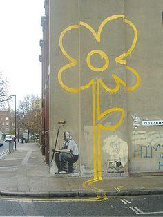 Yellow Lines Flower Painter, Banksy, 2007 Bbc London, Banksy Artwork, Line Flower, Bethnal Green, Yellow Wedding, Urban Art, Yellow Flowers, The Row, Art Gallery