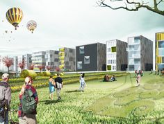 Madrid-based OOIIO Architecture, recently designed a housing project to transform a former runway into a spectacular, green destination in Wurzburg, Germany. German Architecture, Art And Architecture, Public Realm, Green Technology, Madrid, Home Projects, Wwii, Greenery, Dolores Park