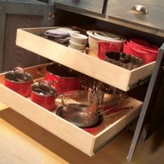 Make base cabinets more functional by building rollout trays for
