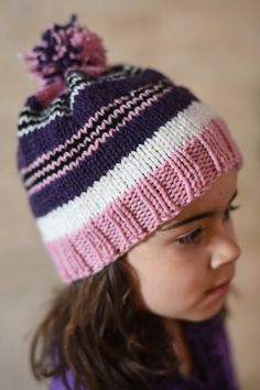 df71b6e4a6c Items similar to SALE! Kids Hand Knit Striped Hat - Girls - Pink
