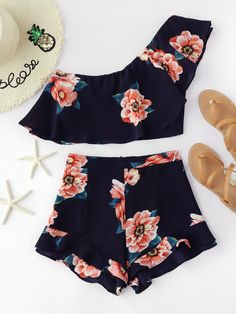 Shorts Navy Multi Polyester Floral One Shoulder Sleeveless Ruffle Zip Sexy Vacation Fabric has no stretch Summer Two-piece Outfits. Crop Top Outfits, Crop Top And Shorts, Short Outfits, Trendy Outfits, Teen Fashion Outfits, Outfits For Teens, Girl Fashion, Cute Summer Outfits, Cute Outfits