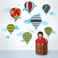 Peel, stick, and decorate in an instant— remove without a trace! The Hot Air Ballon design adds instant energy to any room; easy to position and re-position. Remove and reuse these hot air balloon wall stickers without damaging your walls. Kids Wall Decals, Removable Wall Decals, Nursery Wall Decals, Art Wall Kids, Wall Stickers, Wall Art, Bedroom Wall, Wall Candy, Candy Art