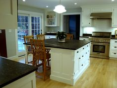 Similar to our kitchen- White cabinets, dark counters, lighter floors