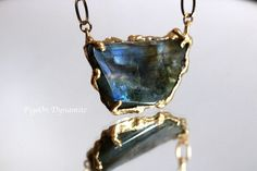 Labradorite Necklace-One of a Kind Labradorite Necklace in Brass-Large Labradorite Statement Necklace-Statement Necklace-Stone Necklace