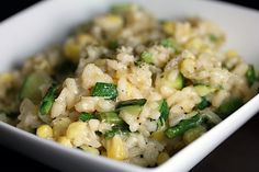 Lemon risotto with asparagus, zucchini, and corn