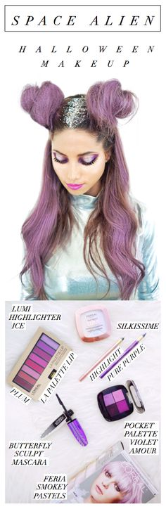Metallic holographic Space Alien Halloween makeup by celebrity makeup artist Sir John. Watch the video to see the full tutorial. Hair color: L'Oreal Feria Smokey Pastels in Smokey Lavender.