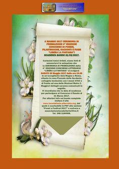 """Carissimi Amici Artisti, siamo lieti di annunciarvi in anteprima che la CERIMONIA DI PREMIAZIONE della 4^ EDIZIONE DEL CONCORSO LETTERARIO """"LIBERA LA FANTASIA"""" si svolgerà SABATO 20 Maggio 2017 dalle ore 16.30 in un'accogliente Aula Magna a Roma, situata in zona Piazzale delle Gardenie, collegata benissimo con i mezzi ATAC, di fronte ad una delle Stazioni Metro C. Vi ricordiamo che la data di scadenza per partecipare al Concorso è fissata al 31 Marzo 2017. www.lucedellarte.altervista.org"""