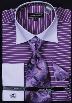 Avanti Uomo Purple Horizontal Stripe Two Tone Shirt with Tie and Hanky Set and cuff links
