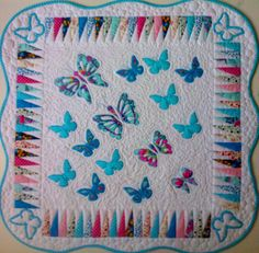 Baby blanket with blue butterflys Butterfly, Quilts, Blanket, Baba, Scrappy Quilts, Comforters, Blankets, Quilt Sets, Butterflies