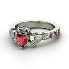 If I were ever to get a new wedding ring, this would be it. Claddagh Ring, Heart Ruby White Gold Ring with Ruby