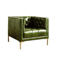 Tufted green leather club chair, via Green Leather Sofa, Leather Club Chairs, Tan Leather, Upholstery Fabric For Chairs, Small Accent Chairs, Green Home Decor, Bedroom Chair, Chesterfield Chair, Leather Furniture