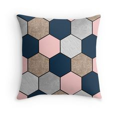 'Navy and peach geometric hexagons' Throw Pillow by marbleco Peach Living Rooms, Framed Prints, Canvas Prints, Art Prints, Navy Bedrooms, Cottage Living, Hexagons, Living Room Interior, Art Boards