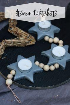 Sternen-Lichterkette mit Holzzugeln