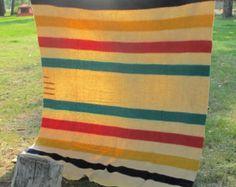 1920s Hudson Bay 3.5 Point Blanket - RARE Red Label - Multistriped Headings - Stripes - HBC Multi - Canada - Fur Trading - Cabin Blanket