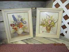 Set of 2 Vintage Solid Wood Reliance Picture Frames with Floral Flower Art by EvenTheKitchenSinkOH on Etsy