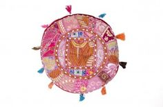 Bodenkissen Brokat Patchwork, indische Handarbeit