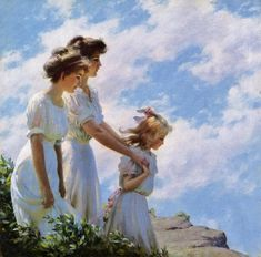 Charles Courtney Curran (1861-1942) On the Cliff 1910
