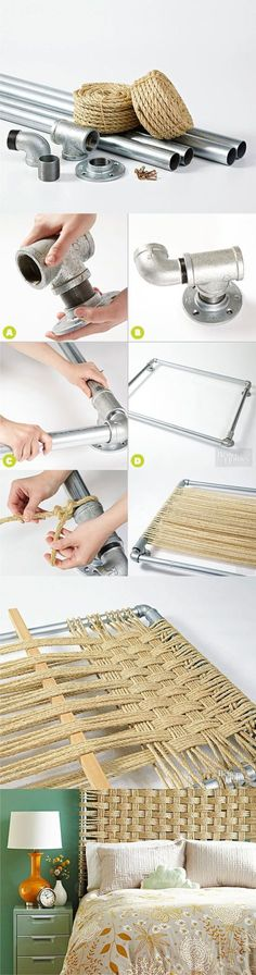 Cabecero DIY con tubos y cuerda - bhg.com - DIY Rope Headboard