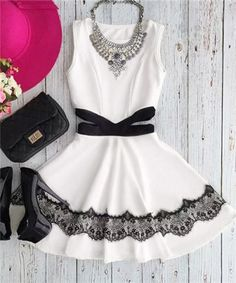 Casual Jewel Collar Sleeveless Waist Cut Out Lace Spliced Dress For Women Casual Dresses   RoseGal.com Mobile